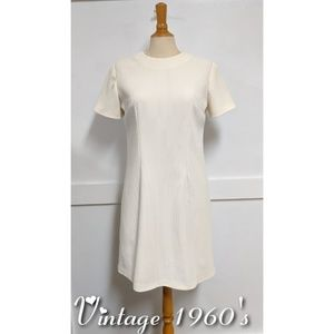 Vintage 1960s Ivory Polyester Sheath Dress size 10